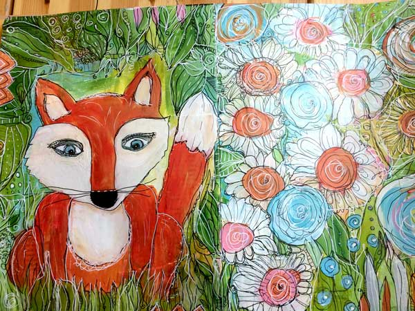 art journal fox made with dip pen and ink