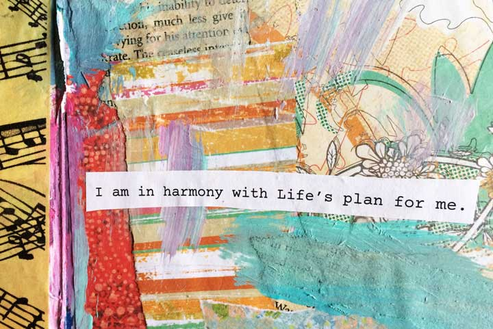 positive affirmations themed art journal