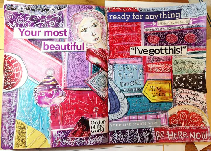 block by block art journal page layout