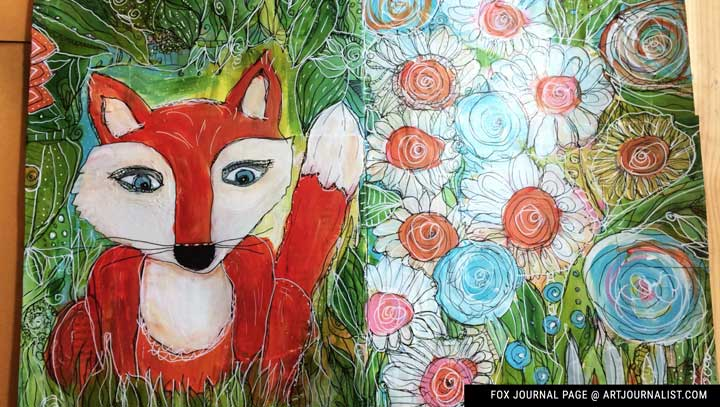 fox mixed media journal page