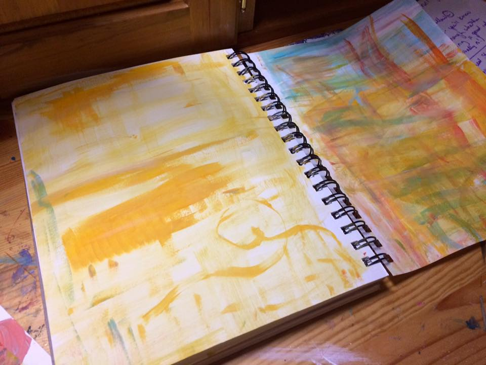 art journal painted paper notebook