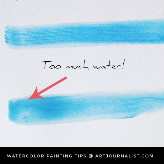 watercolor painting too much water example