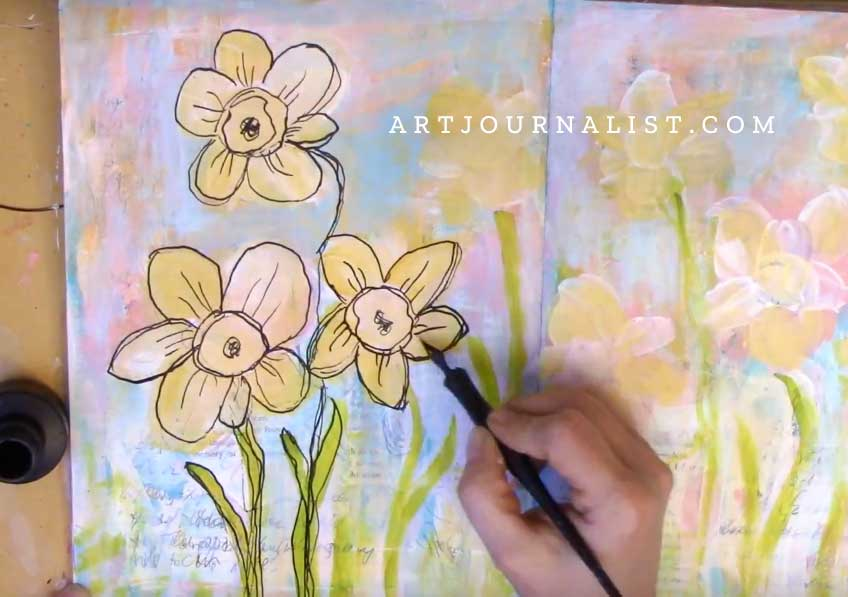 mixed media daffodils painting