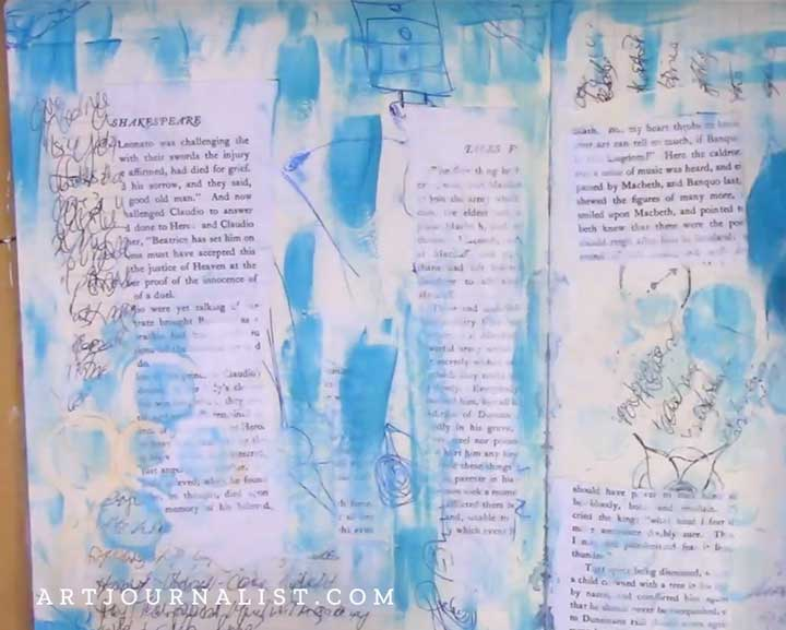 building layers in art journal pages