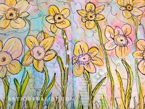 Spring Daffodils Mixed Media Painting