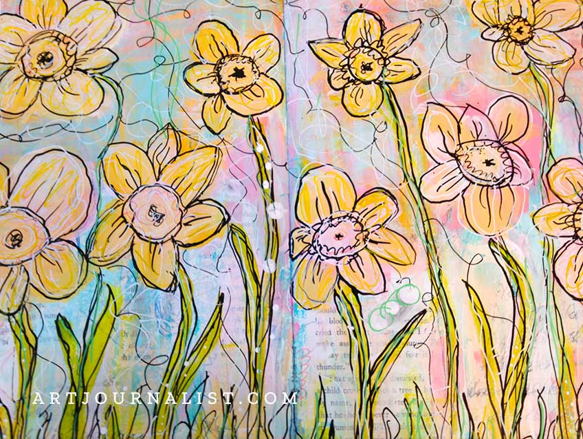 mixed media daffodils art journal page with layers