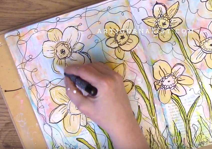 uni posca white paint pen layers