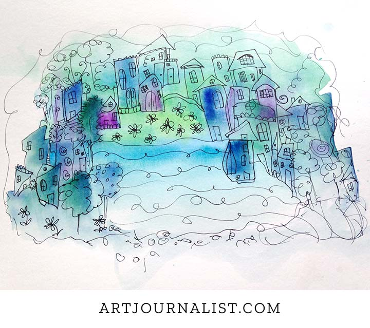 watercolor cityscape blue and purple