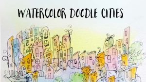 watercolor doodle cities