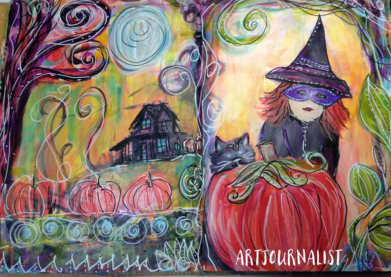 halloween witch mixed media acrylic painting art journal page