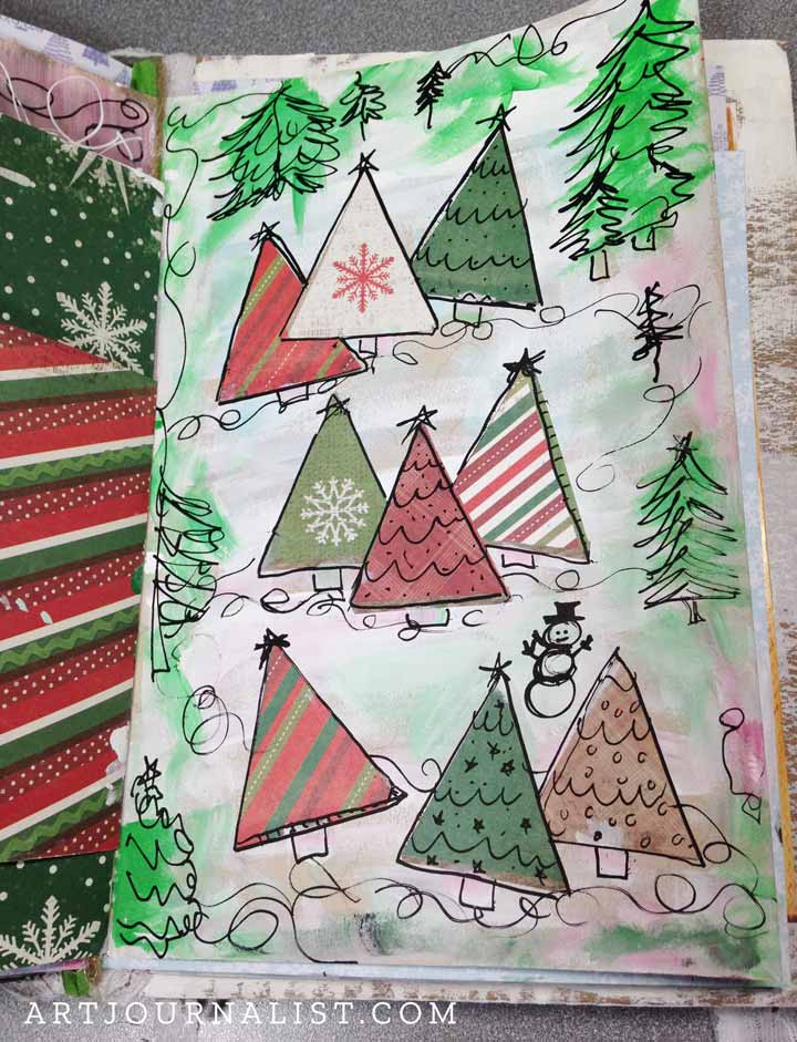 christmas art journal ideas