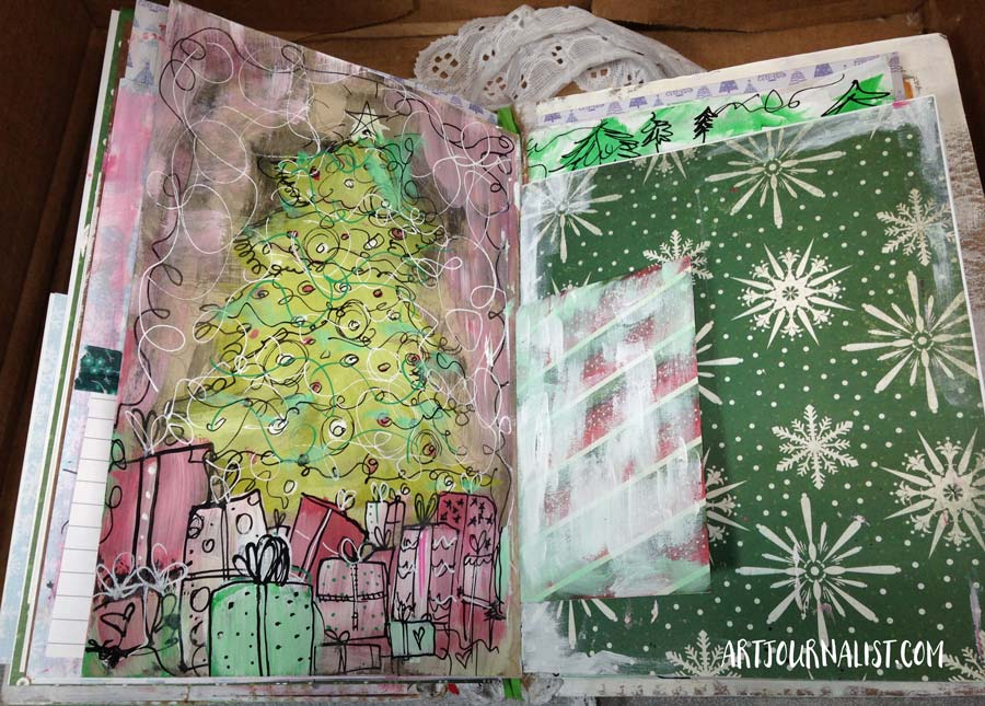 christmas tree art journal page