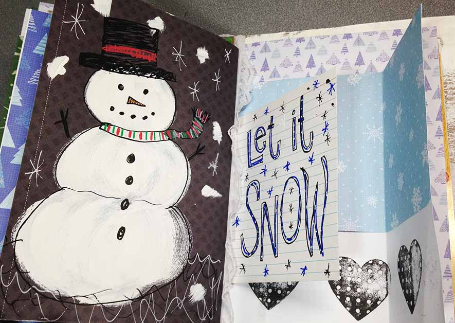 happy snowman art journal ideas