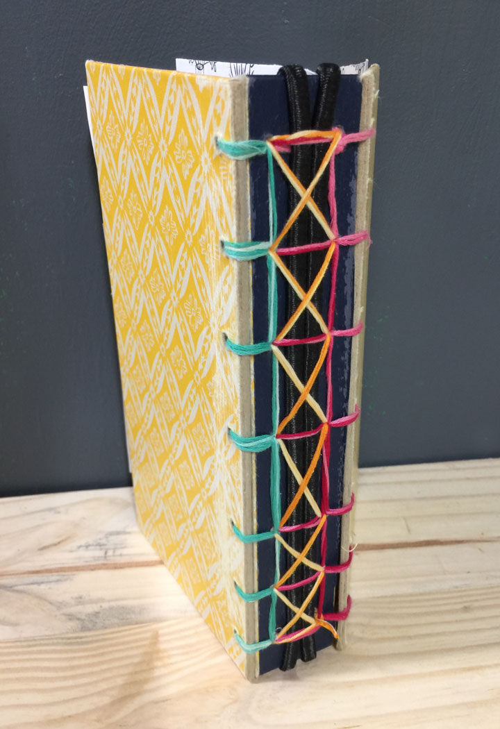 laced bookbinding spine