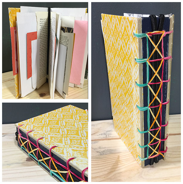 laced elastic junk journal bookbinding technique