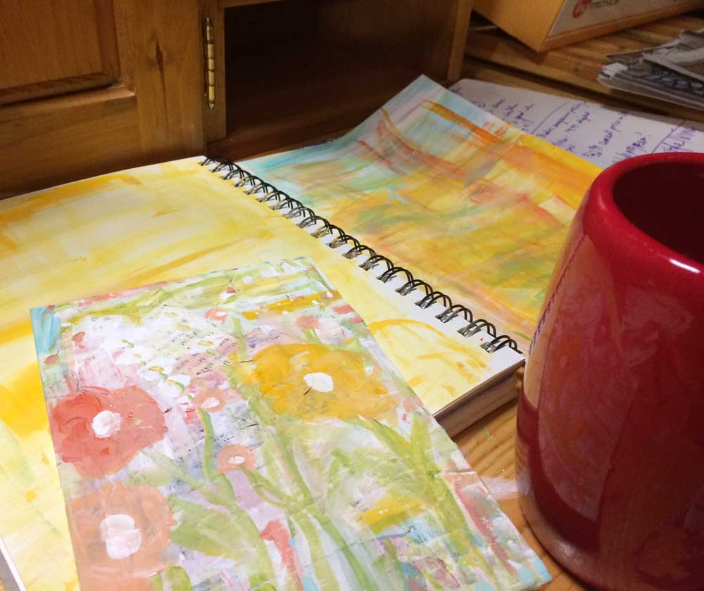 cup of tea while art journaling