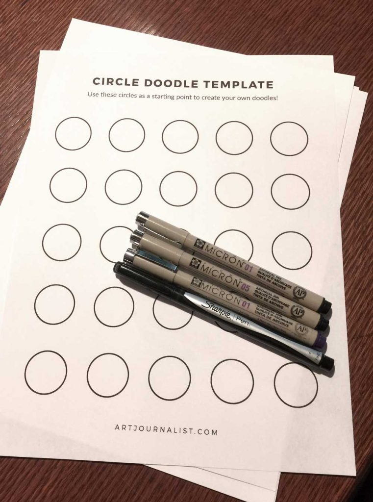 doodle template with favorite pens