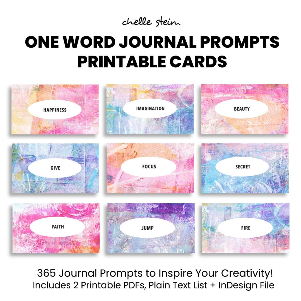 one word journal prompt cards
