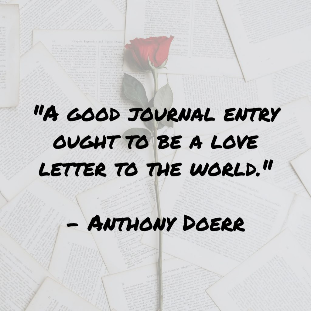 """Image of rose on paper background with the quote: A good journal entry ought to be a love letter to the world.""""- Anthony Doerr"""