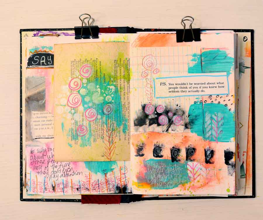 """Journal page that shows journaling quote: """"You wouldn't be worried about what people think of you if you knew how seldom they actually do."""""""