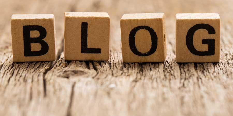 the word blog written in blocks
