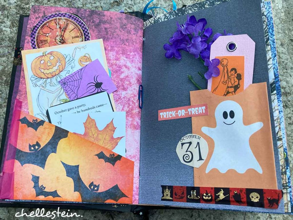 halloween junk journal page with pockets