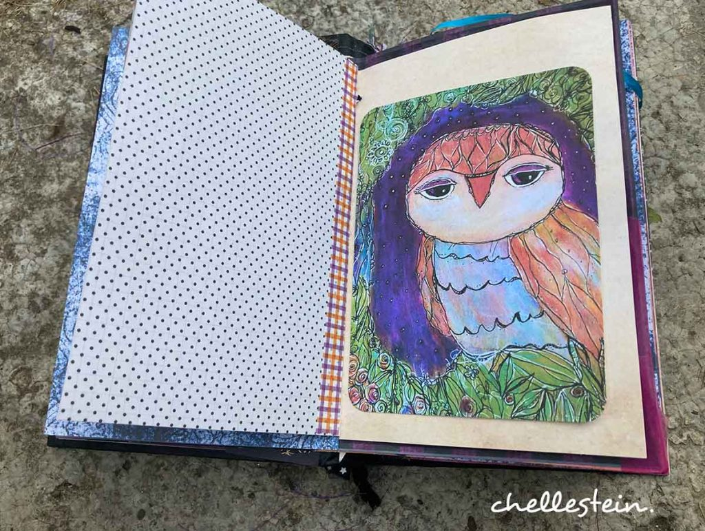 owl junk journal page