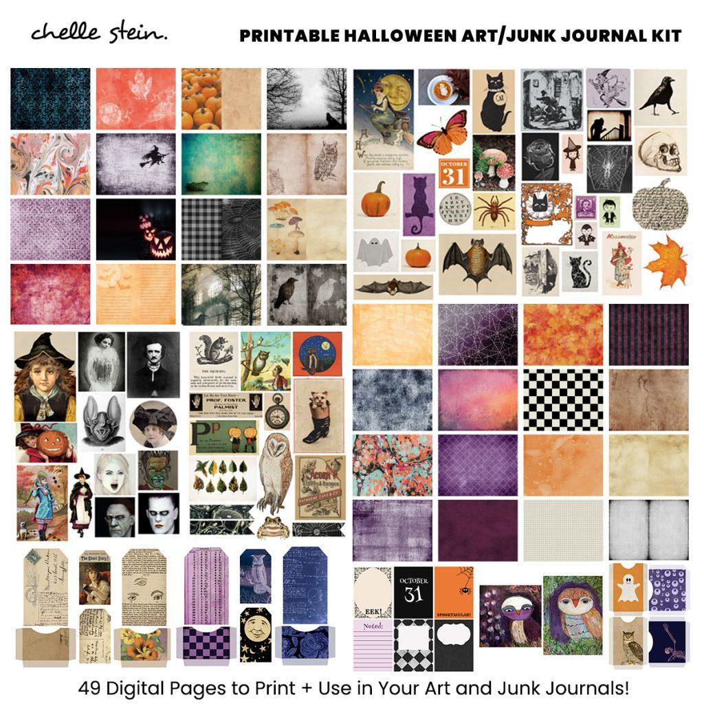 printable halloween junk journal kit